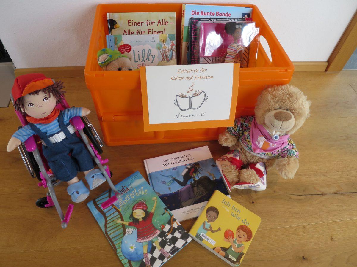 Inklusionsbox Bücher, Spielzeug zum Thema Behinderung und Inklusion